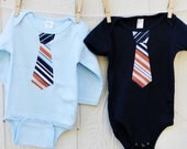 ORANGE NAUTICAL NECKTIE appliqued  baby bodysuit.... Very cute summer ouftit... Great church, Birthday outfit or family pictures