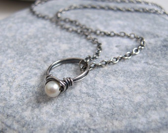 Marry Me Necklace Tiny Pearl Ring On Oxidized Sterling Silver Necklace, Freshwater Pearl Jewerly