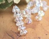 Crystal AB Bell Flower Czech Glass Beads Transparent 6x8mm (25)