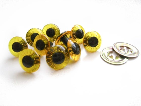 CLEARANCE 14 mm, 3 Pairs Yellow Iris Plastic Doll Eyes with Metal Secure Back 5/8""