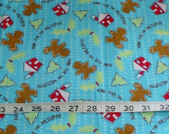 Gingerbread Home for the Holidays Blue Christmas Fabric - 1 yard 6 inches