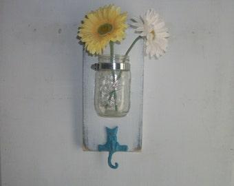 Country Cottage Shabby Kitty Cat Hanger Wall Mason Jar Shelf