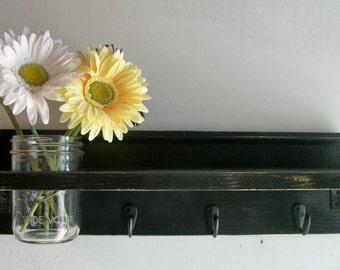 Primitive Country Black on Black Wood  & Hooks Cottage Mason Jar Wall Shelf