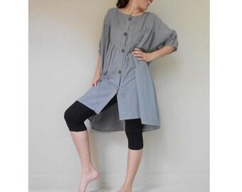 Custom Made Gray little pleats Cotton Loose Boho blouse Short Tunic Summer Dress S-L (H)