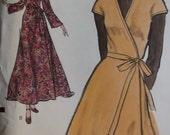 70s  Maxi Wrap Dress Very Easy Vogue 8437 Pattern, Size 10, Bust 32.5, UNCUT