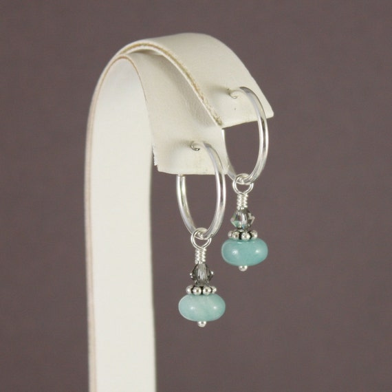 Clip on earrings Amazonite and Black Diamond AB SP clip hoop earrings by EarthsOpulence