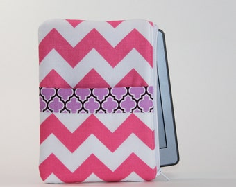 SALE   Kindle / Kindle Touch Sleeve - Small - Padded eReader Case - Chevron Stripes in Pink