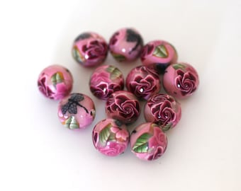 Pink Rose Polymer Clay Bead Dozen, Dragonfly Design, Round Beads  - Made to Order