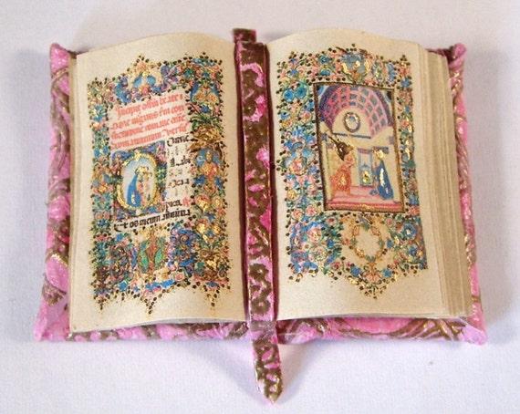 Miniature Book Medieval Gold Illuminated Open Book Ooak Pink