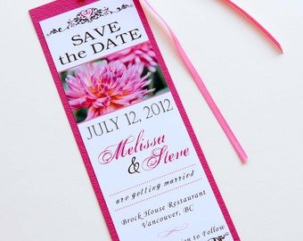 Pink Dahlia Flower Wedding Bookmark Save the Date