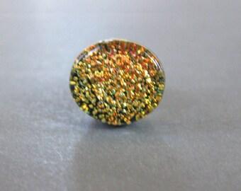 Orange Tie Pin, Dichroic Tie Tack, Mens Lapel Pin, Fused Glass Jewelry, Fathers Day Jewelry - Blazing Sun - 030 -2