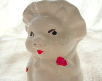 Adorable Vintage Piggy Wearing Hat Planter Pin Cushion