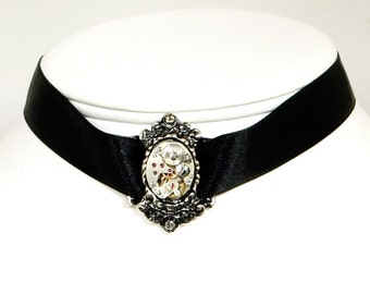 Steampunk Black Satin Choker with Antiqued Silver Filigree and Vintage Watch Centerpiece by Velvet Mechanism