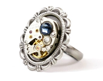 Steampunk Aristocratic Lolita Antiqued Silver Victorian Frame Ring with Vintage Watch and Blue Swarovski Crystal by Velvet Mechanism