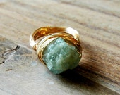 Chunky Nugget Raw Aqua Marine Nested  Wire Wrapped Ring