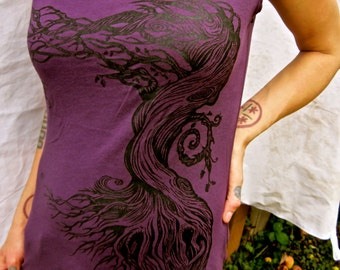 Women's Purple Eggplant Ancient Oak Tree of Life Capsleeve Stretchy Jersey Made in USA Cotton Tshirt Sizes M L XL