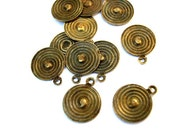 10 Vintage metal dangling beads or pendants 11mm without the loop