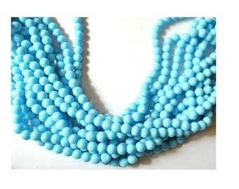35 Vintage glass beads turquoise   6mm