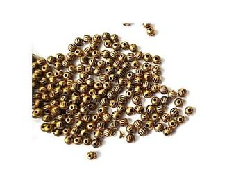 50 Vintage beads plastic coated with metal metal 4mm