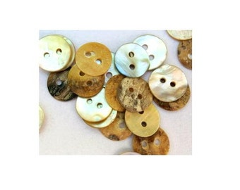 10 Shell buttons, natural color, 11mm, great for button jewelry