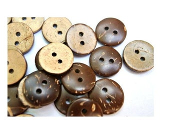 10 Buttons, coconut shell buttons 15mm