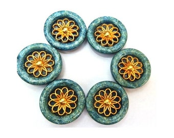 6 Vintage buttons plastic with metal gold color flower 22mm, blue with glitters