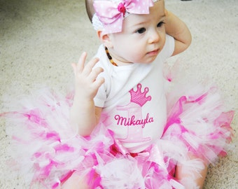 Baby Girl 1st Birthday Petti Tutu Outfit - Cake Smash Photo Prop - Baby Tutu