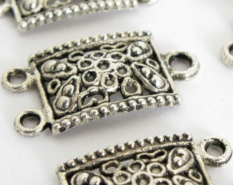 Antiqued Silver Plated Filigree Rectangle Links - Silver Plated Filigree Findings