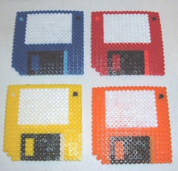 perler bead coasters floppy disks