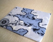 World Map Blue -  Macbook 11 Inch Laptop Cover - Padded and Zipper Closure Laptop Sleeve, Case, Bag