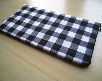 Plaid in Black & White - Apple Wireless Keyboard Sleeve - Padded and Zipper Closure - Ready to Ship