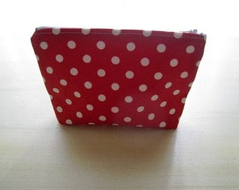 Polka Dots Bright Red - Large Zippered Pouch