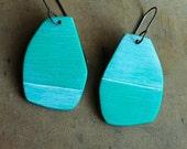 Bright turquoise, art jewelry, dangle earrings, Hemisphere earrings
