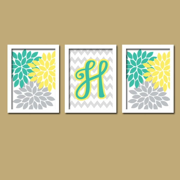 Items Similar To Teal Purple Abstract Flowers Wall Decor: Monogram Wall Art Yellow Turquoise Baby Girl Nursery By