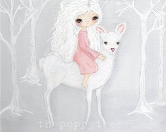 Deer Print Pretty Girl White Wall Art 8 x 8---The White Rider