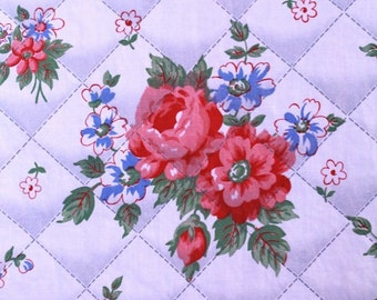 vintage 40s fabric - 2.25 yards cotton floral fabric - sweetest roses