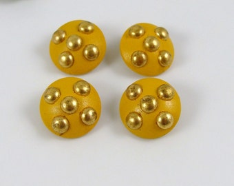 Set of 4 Vintage Mustard Color Painted Wooden Buttons with Gold Metal Dots