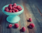 """Fruit still life, raspberries, kitchen art, food photography, red berries, teal and red,  rustic farmhouse kitchen decor  """"Raspberries"""""""