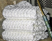 Cotton Washcloths Handmade Dish Cloth or Bath and Body-Set of 3- 100% Crochet Cotton Washcloths, dishcloth, baby cloths