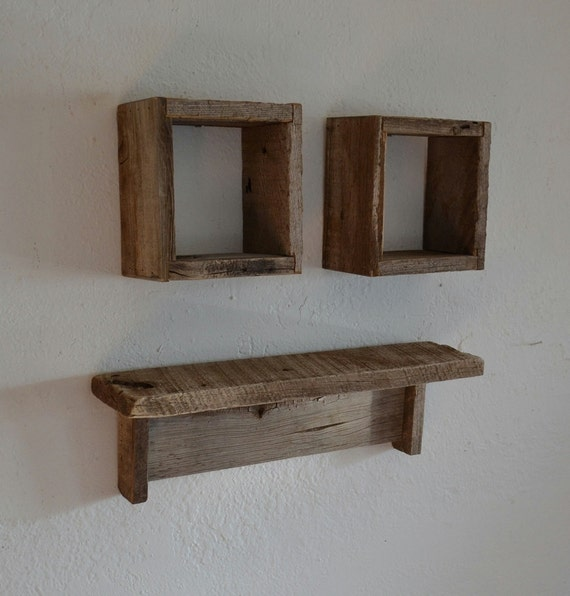 Reclaimed wood shadow boxes and wood wall shelf