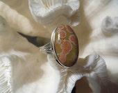 Beautiful Ocean Jasper Ring Size 12.75