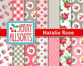 Shabby Chic Digital Paper Natalie Rose - Pink and Taupe - for invites, card making, digital scrapbooking