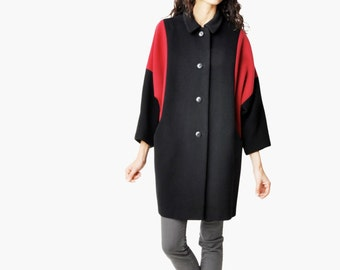 Vintage Color Block Cocoon Coat