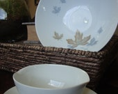Noritake China 9 Inch Vegetable Bowl and Gravy Boat and Maplewood Pattern Blue and Brown TYCAALAK