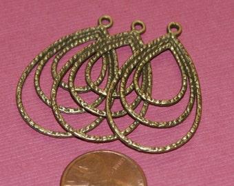 Sale    10 pcs of Antique brass 3 layers teardrop 22x33mm