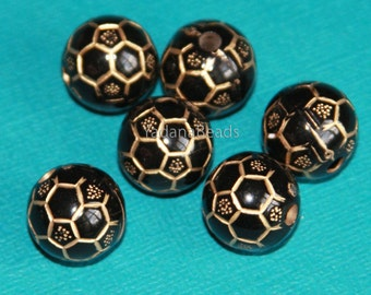 32 pcs of  Acrylic round beads 14mm Black with gold accent