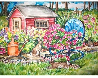 BUNNY COUNTRY - 11x15 original painting landscape watercolor OOAK, Garden, Bunny, Bunny Rabbit, Flower, Floral, Lawn, Chair, Yard