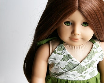 Doll Clothes fits American Girl Doll - A Halter Dress in Moss Green Linen and Lace - Made To Order