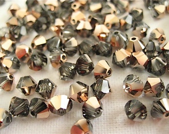 48 Crystal Rose Gold Swarovski Crystalss Bicone 5328 4mm