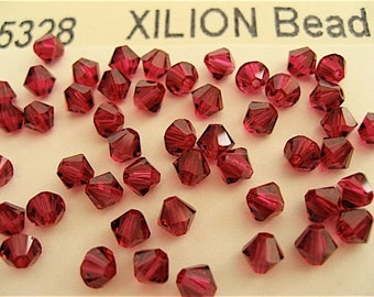 48 Ruby Swarovski Crystal Beads Bicone 5328 4mm